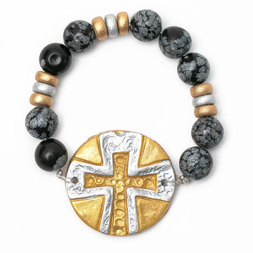 Black Obsidian Jasper with Gold & Silver Leah Cross Bracelet