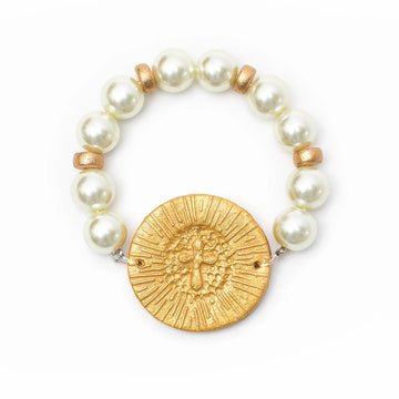 Pearl with Victory Cross Bracelet