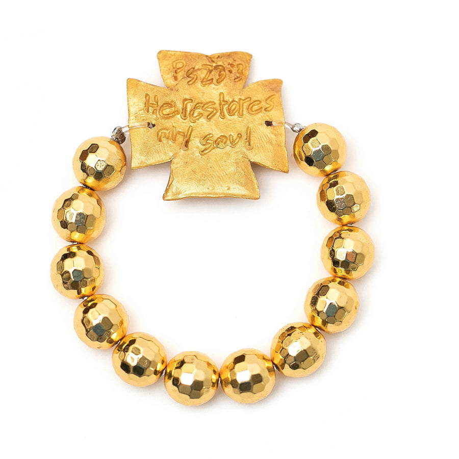 Gold Faceted Beads with Elizabeth Cross Bracelet