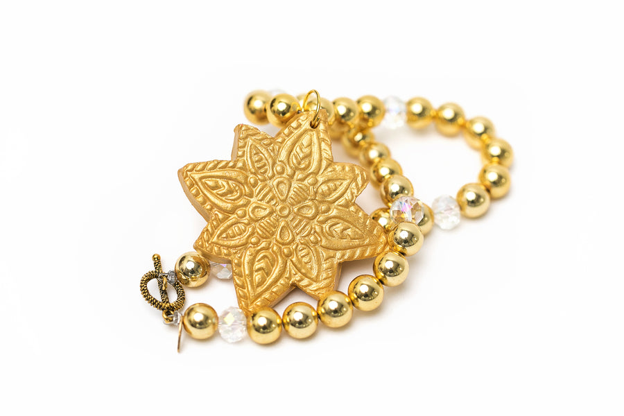 Large Gold & Crystal with Starburst Medallion