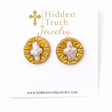Mother of Pearl Cross Studs