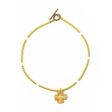 Gold and Crystal Necklace with Julia Blair Cross