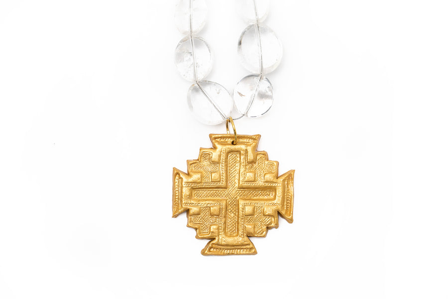 Gold & Clear Quartz Nuggets with Jerusalem Cross