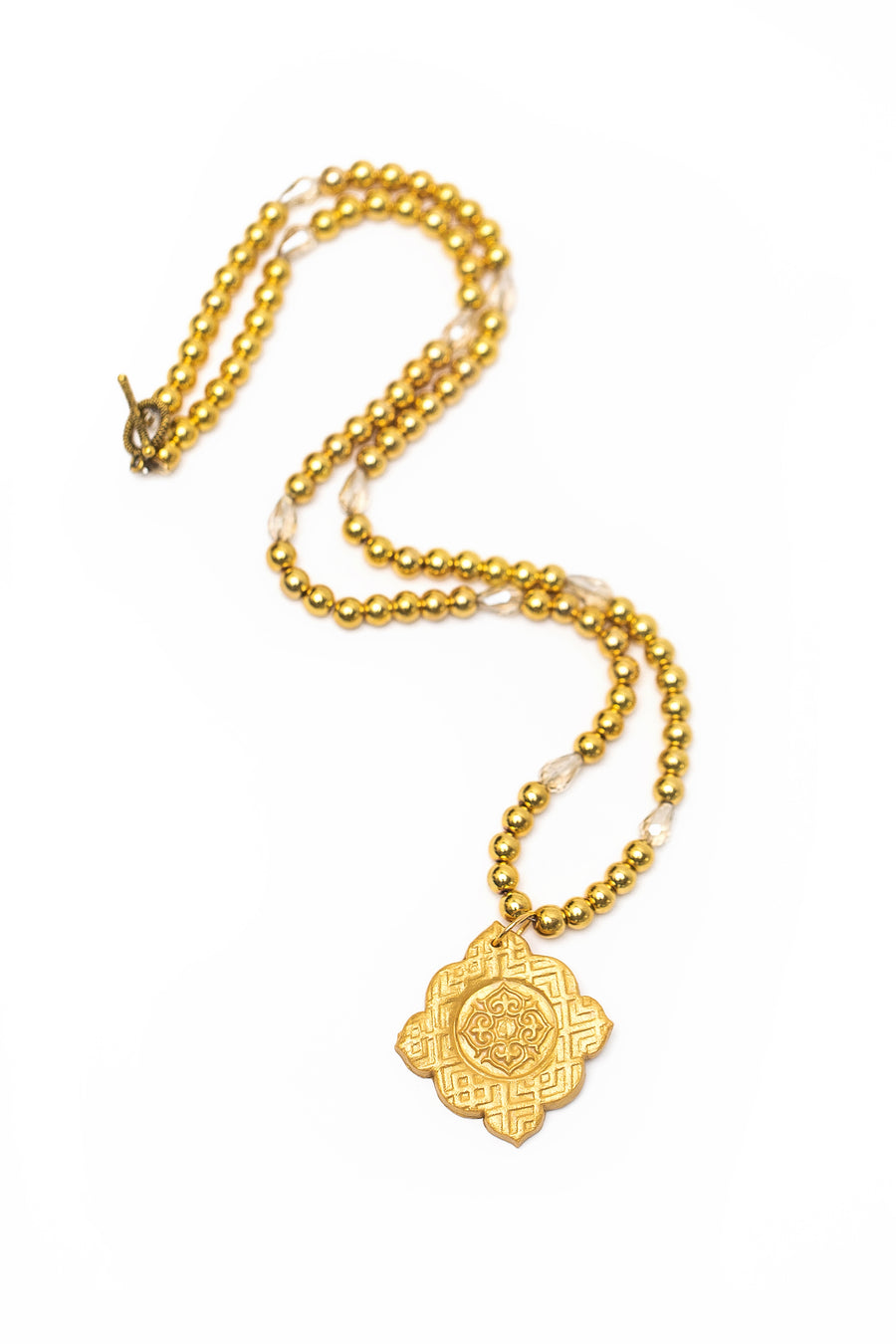 Gold & Crystal with Kelly Medallion Necklace
