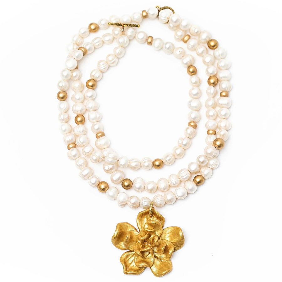3-Strand Freshwater Pearls with Camellia Blossom