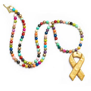 Multicolored Jade Cancer Warrior Necklace - Long