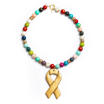 Multicolored Jade Necklace Cancer Ribbon Warrior Necklace - Short