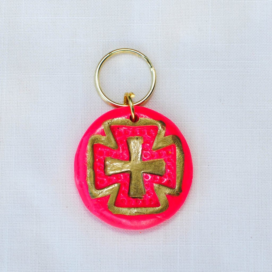 Hot Pink and Gold with Elizabeth Cross Keychain