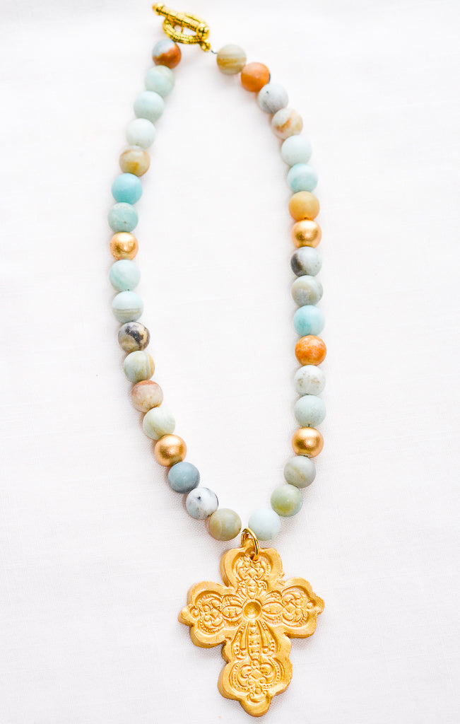 Amazonite with Cherrie Cross
