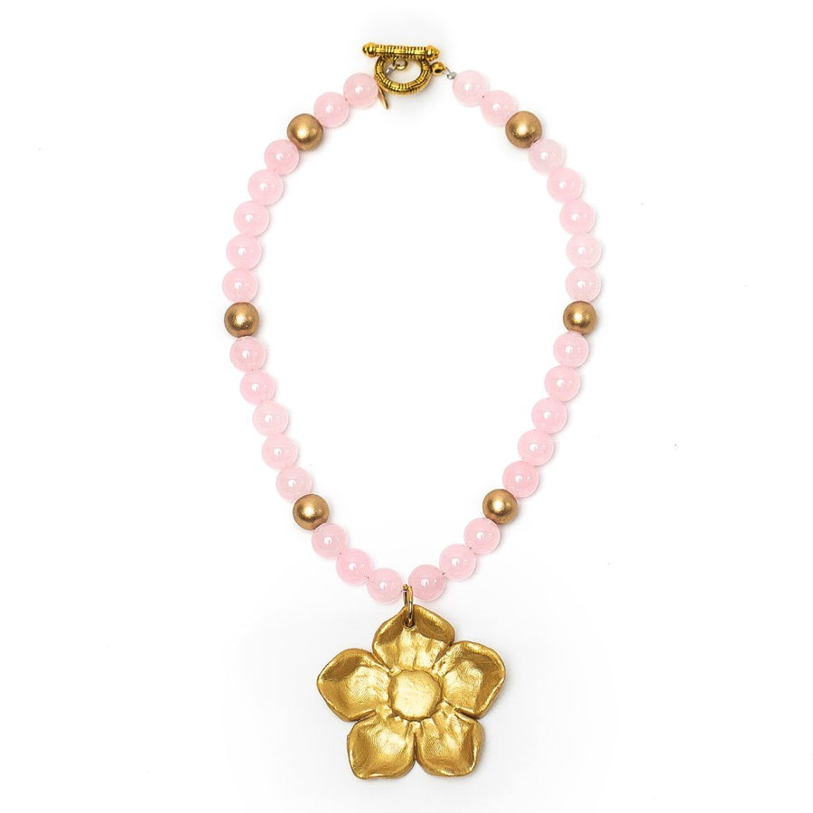Light Pink Jade with Wildflower Necklace