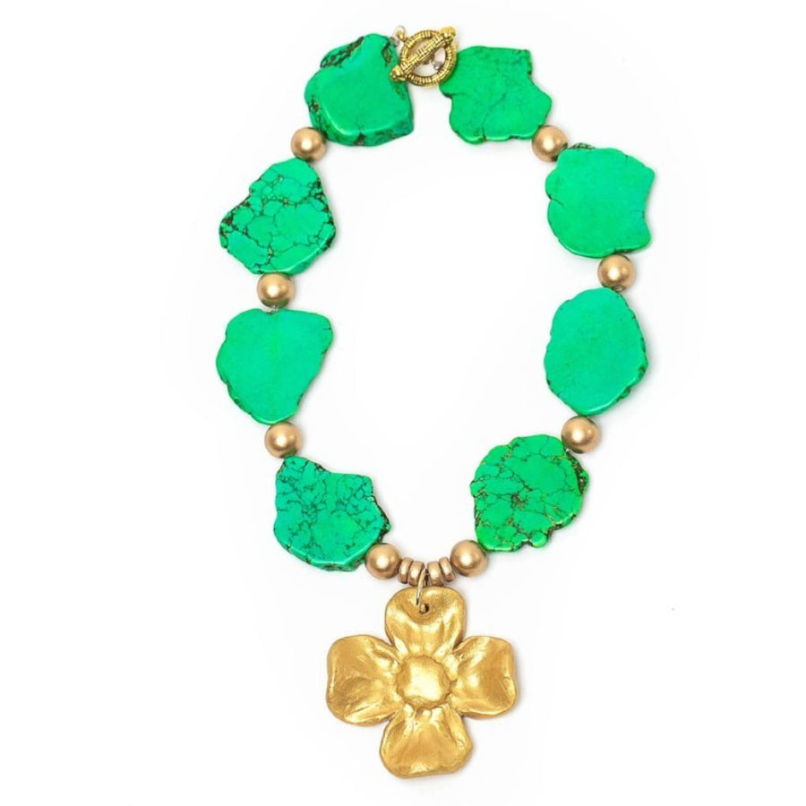 Green Jade Nuggets with Dogwood Blossom Necklace