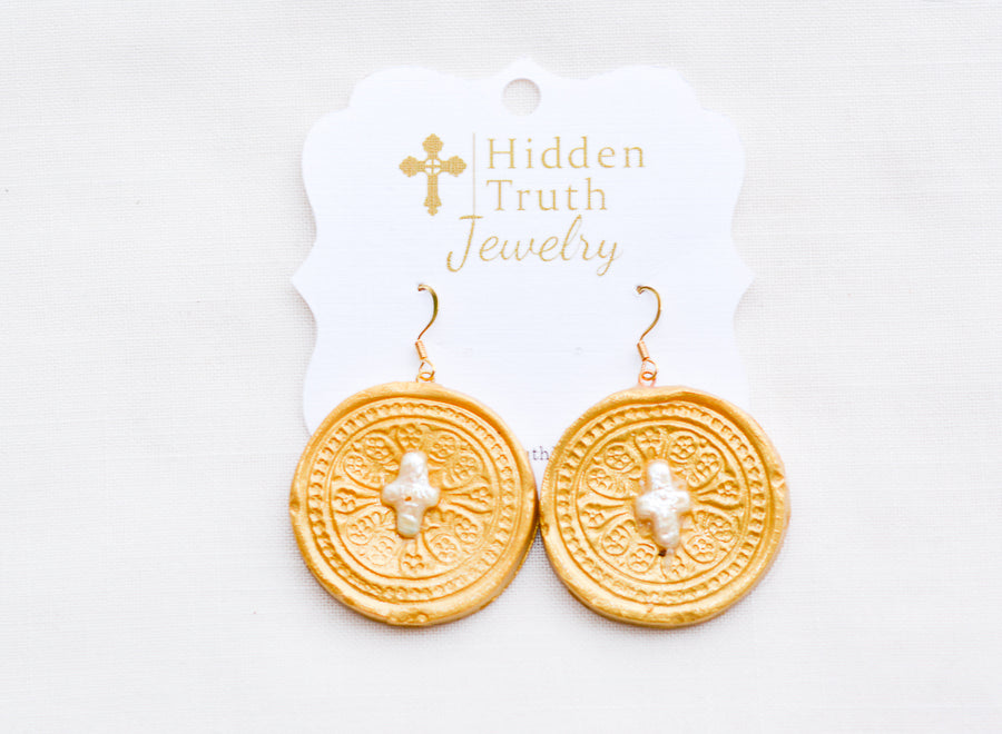 Pearl Insert Dangle Earrings with Truth Cross