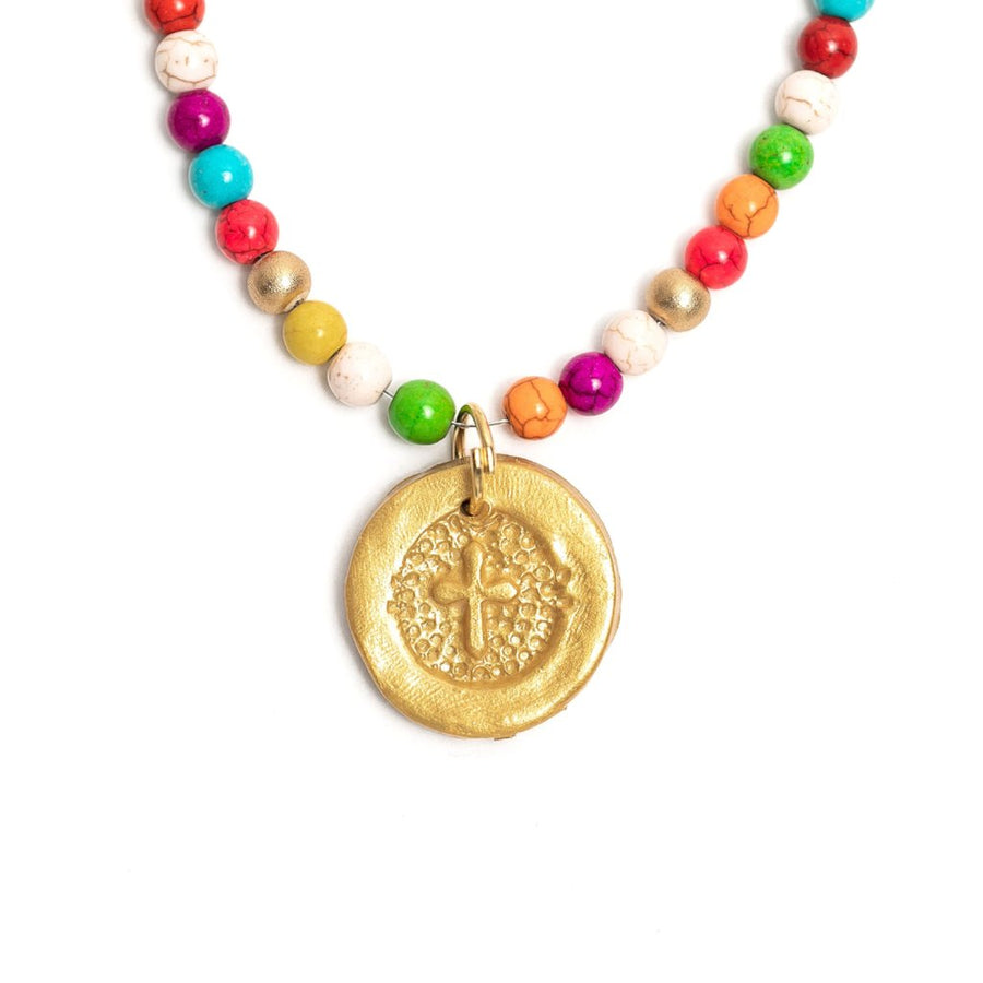 Multi-Colored Howlite on the Harper Cross Necklace