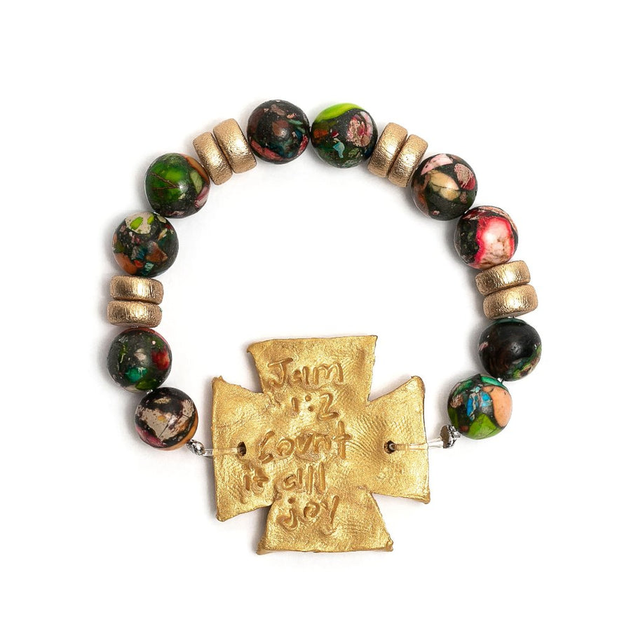 Conglomerate Stone with Elizabeth Cross Bracelet