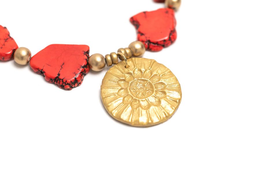 Red Turquoise Nuggets with Sonkissed Medallion