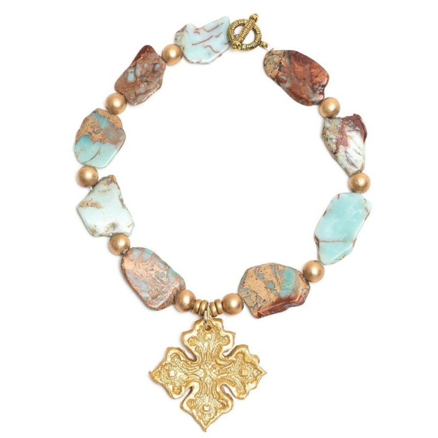 Aqua Terra Jasper with Kadesha Cross