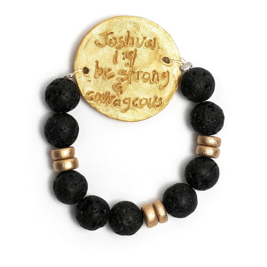 Stretch Black Lava with Truth Cross Bracelet
