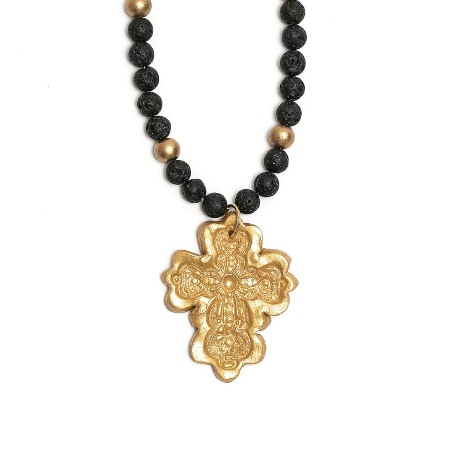 Black Lava with Cherrie Cross Necklace