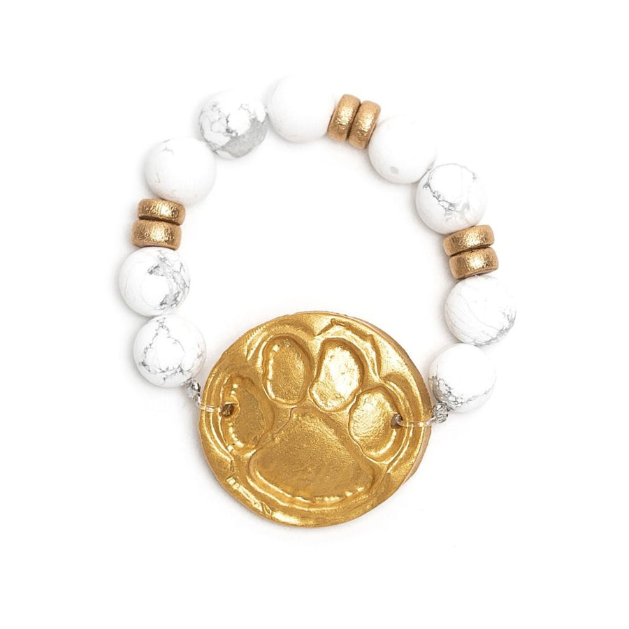 African White Turquoise with the Tiger Paw Bracelet