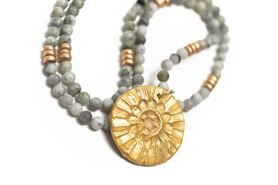 Gray Labradorite on the Sonkissed Medallion