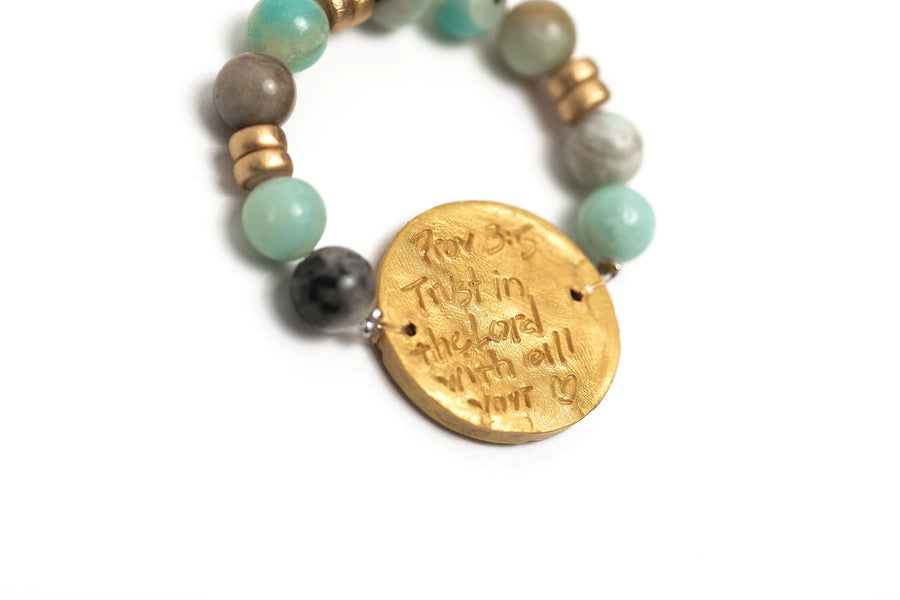 Stretch Matte Amazonite with Truth Cross Bracelet