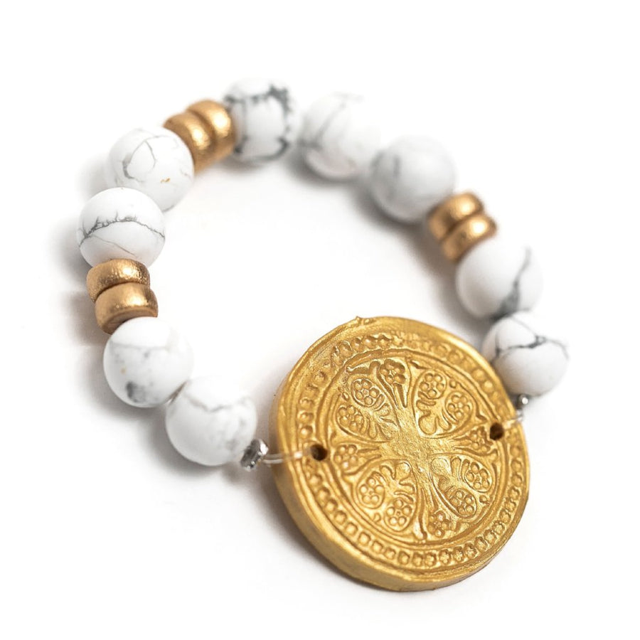 African White Turquoise with Truth Cross Bracelet