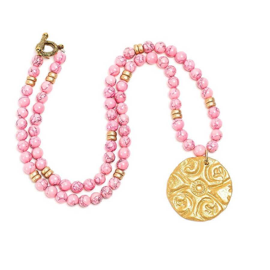 Neon Pink Jade with Fancy Circle Medallion