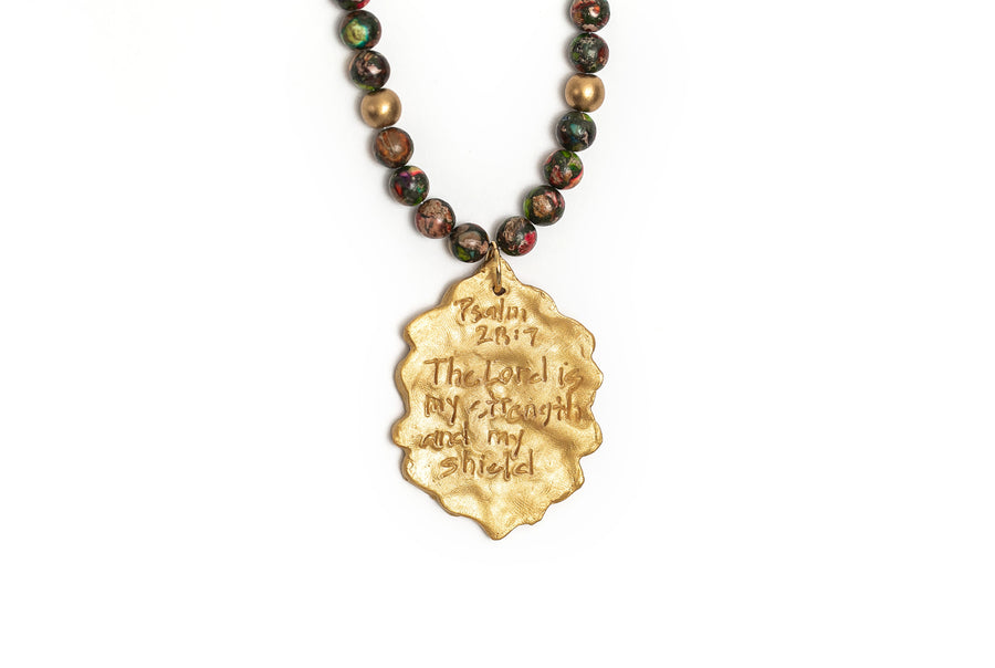 Conglomerate Stone with the Shield of Faith Necklace