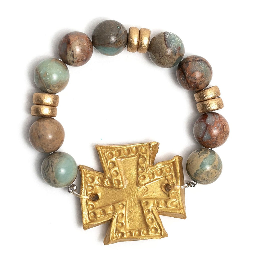 Aqua Terra Jasper with Elizabeth Cross Bracelet