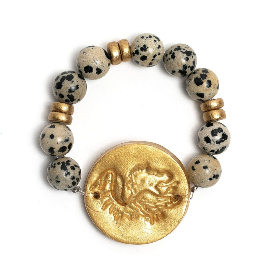 Dalmatian Jasper with Gamecock Bracelet