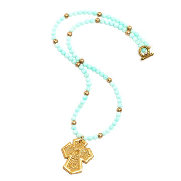 Aquamarine Jade with Virginia Cross