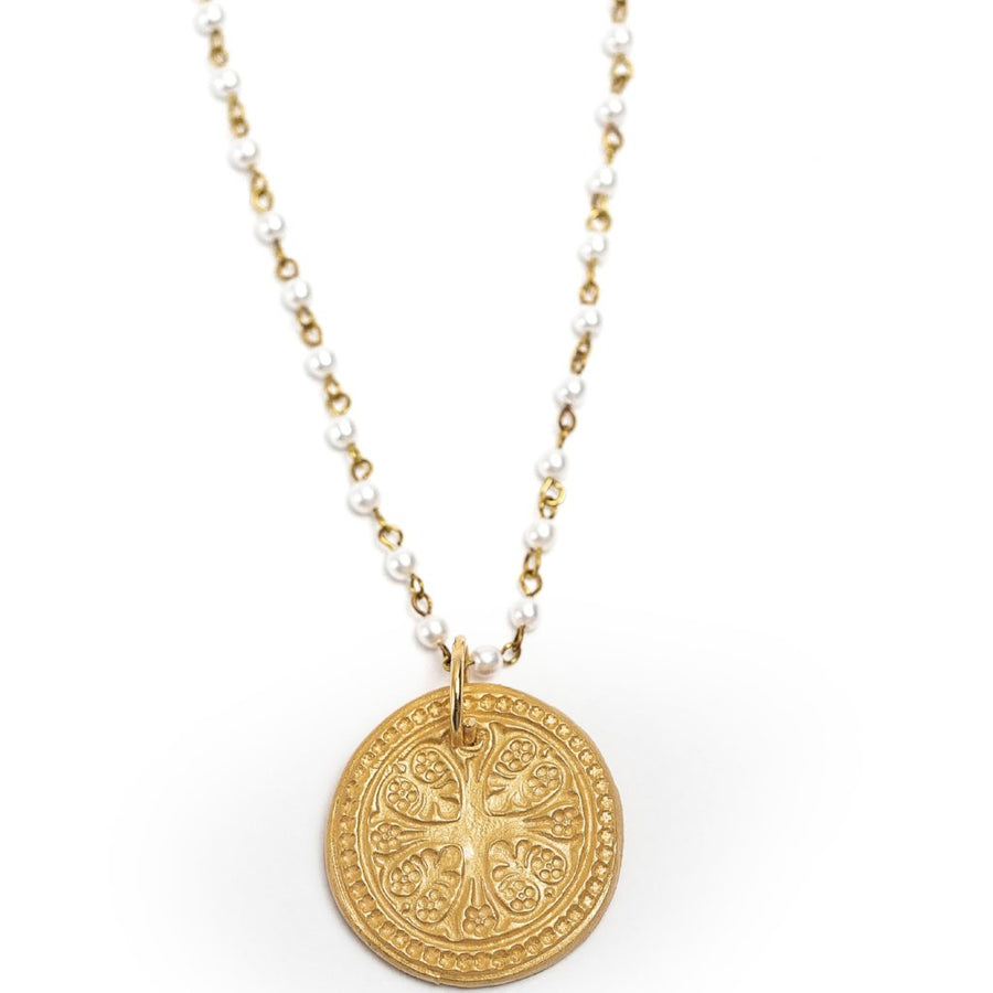 Pearl and Gold Chain with Truth Cross