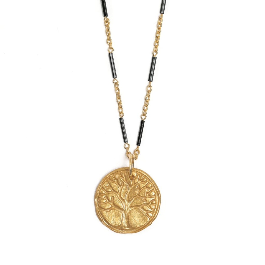 Black Bar and Gold Chain with Tree of Life Medallion