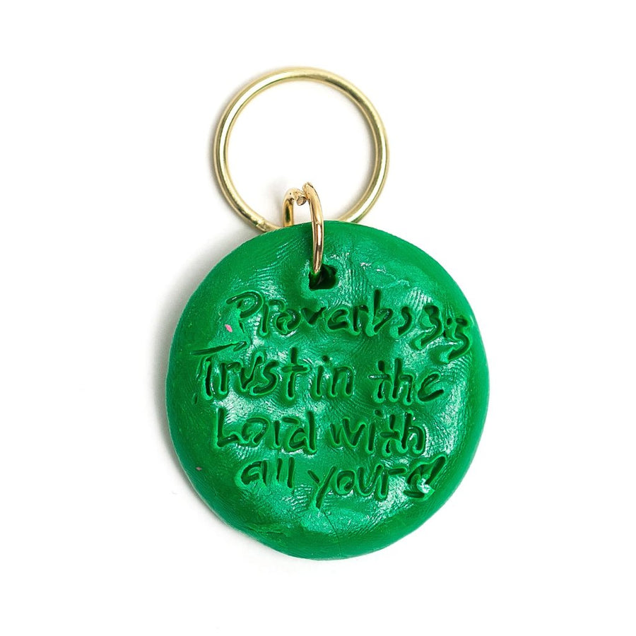 Green and Gold with Elizabeth Cross Keychain
