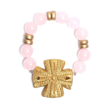 Light Pink Jade with Rachel Cross Bracelet