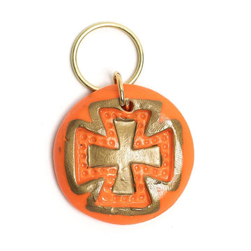 Orange and Gold with Elizabeth Cross Keychain