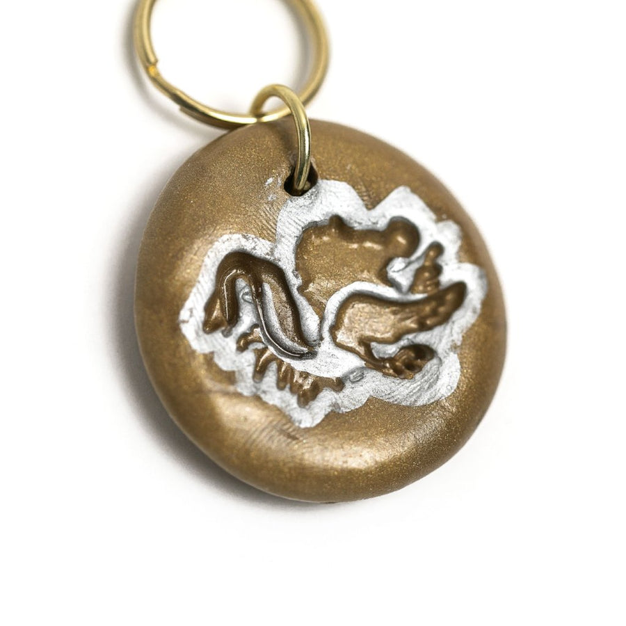 Bronze & Silver Gamecock Keychain