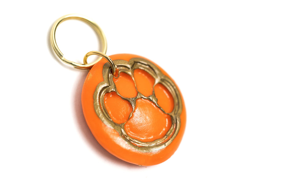 Orange Tiger Paw Keychain