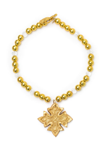 Gold and Glass with Kadesha Cross Necklace