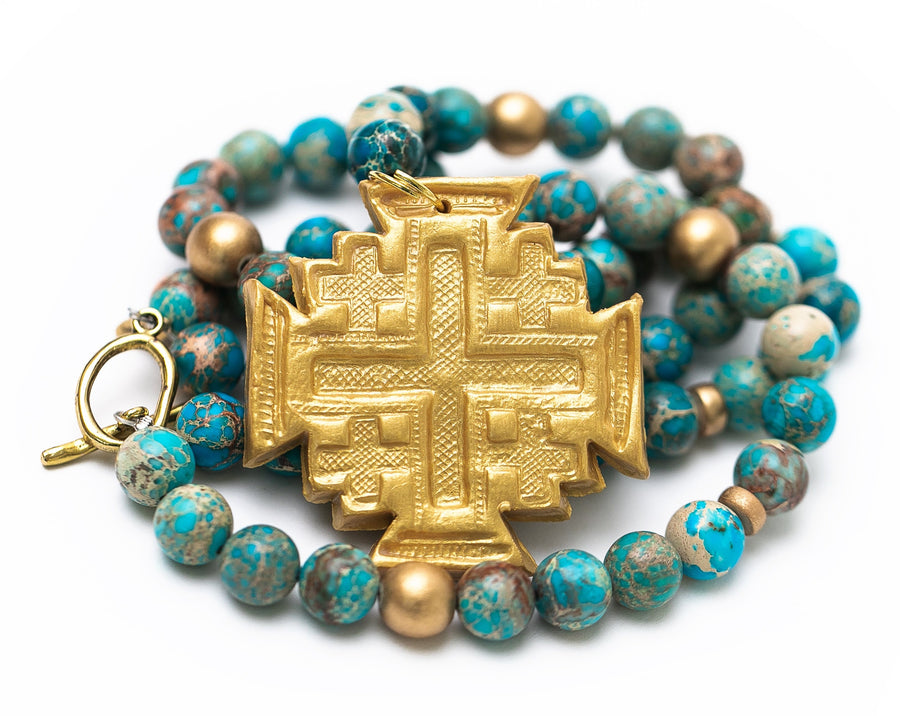 Double Strand Turquoise Sea Sediment Jasper with Jerusalem Cross