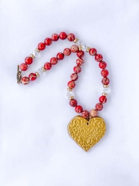 Red Sea Sediment Jasper with Kim Heart (American Heart Association)