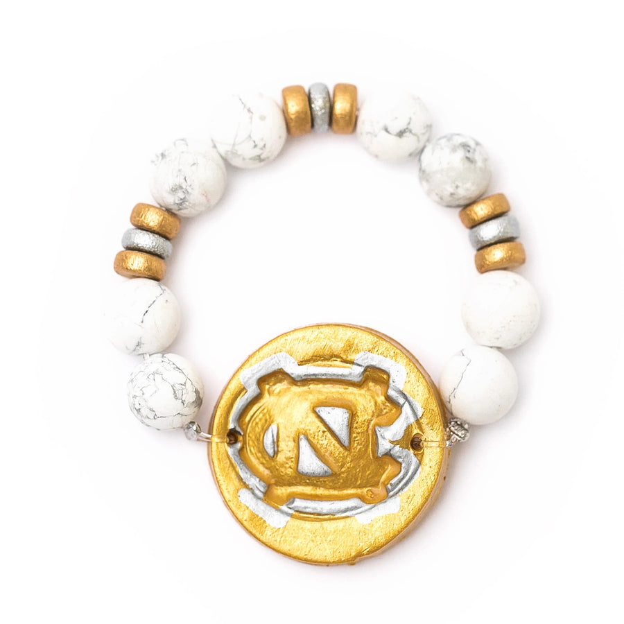 African White Turquoise with Gold/Silver NC Bracelet