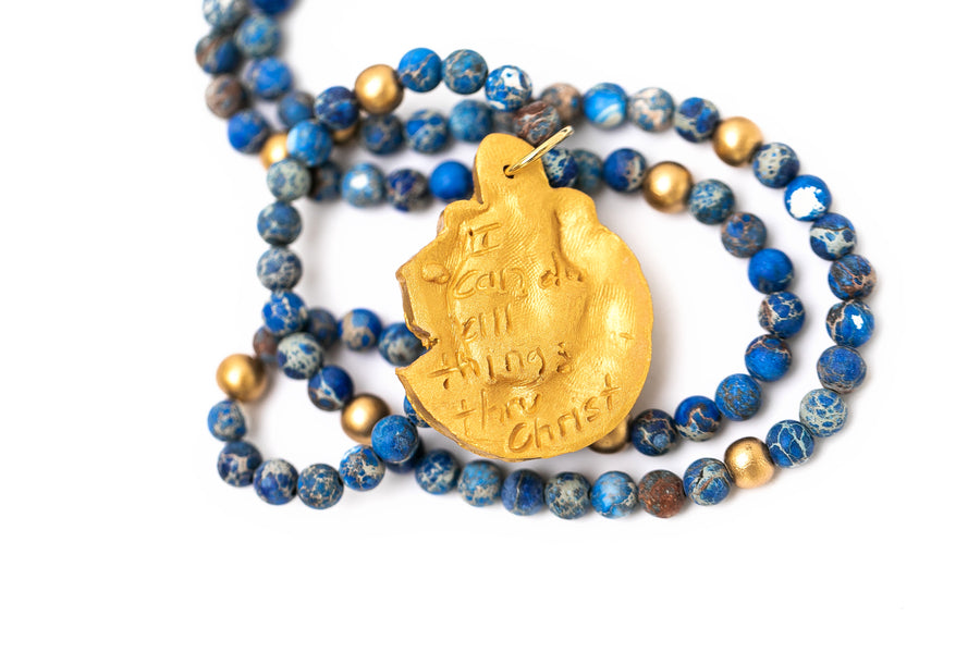 Blue Sea Jasper with SC Military Bulldog Necklace