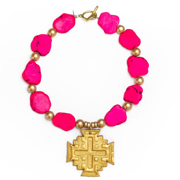 Hot Pink Jade Nuggets with Jerusalem Cross Necklace