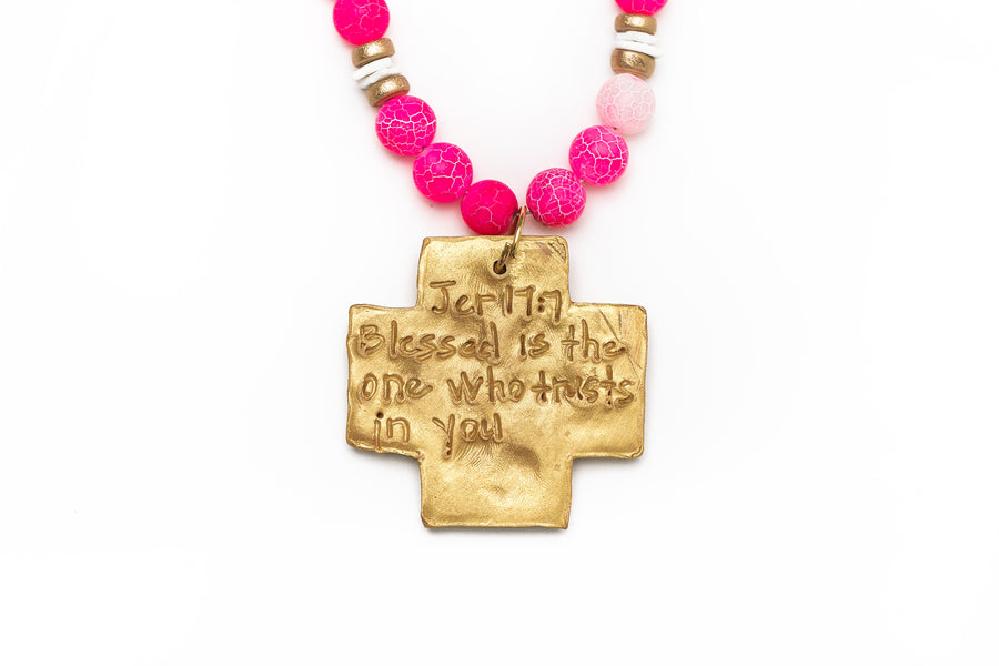 Double Strand Pink Fire Agate with Lere Cross Necklace