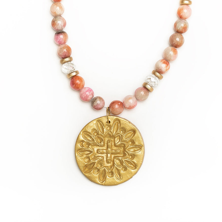 Multicolored Pink Jade with Favor Cross Necklace