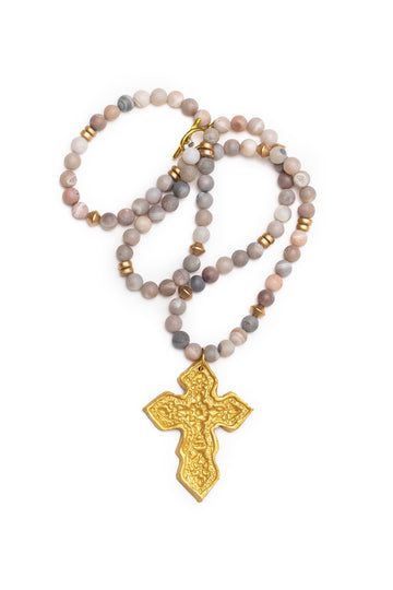 Pearl Druzy with Hidden Truth Cross Necklace