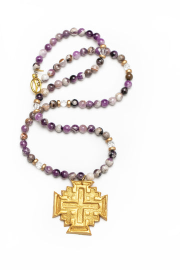 Flower Amethyst with Jerusalem Cross Necklace