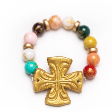 Multicolored Jade with Friendship Cross Bracelet