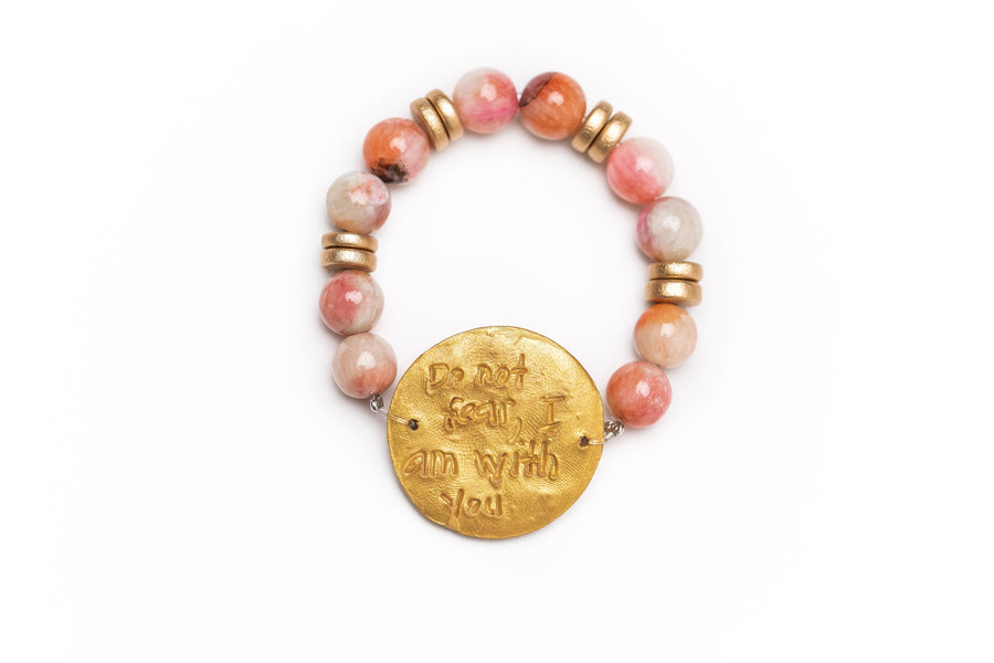 Multicolored Pink Jade with Truth Cross Bracelet